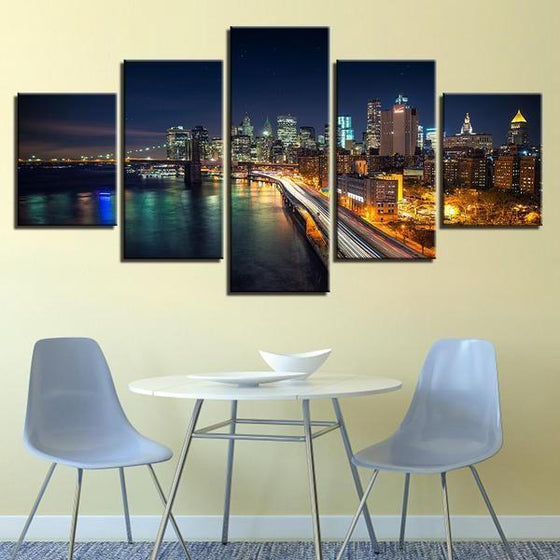 Brooklyn Bridge And City View Canvas Wall Art