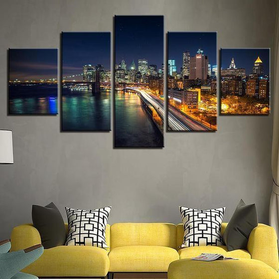 Brooklyn Bridge And City View Canvas Wall Art Living Room