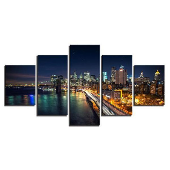 Brooklyn Bridge And City View Canvas Wall Art Decor