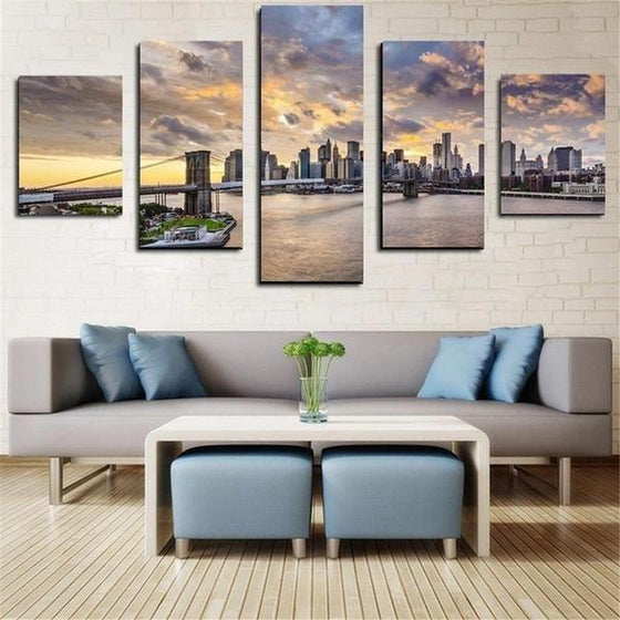 Brooklyn Under The Sunset Sky Canvas Wall Art Living Room