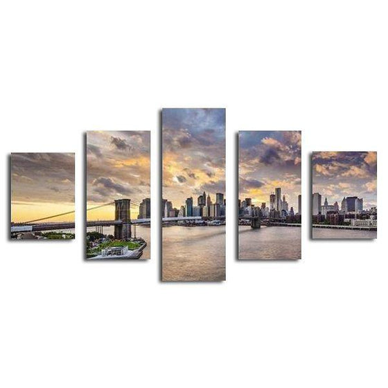 Brooklyn Under The Sunset Sky Canvas Wall Art Prints