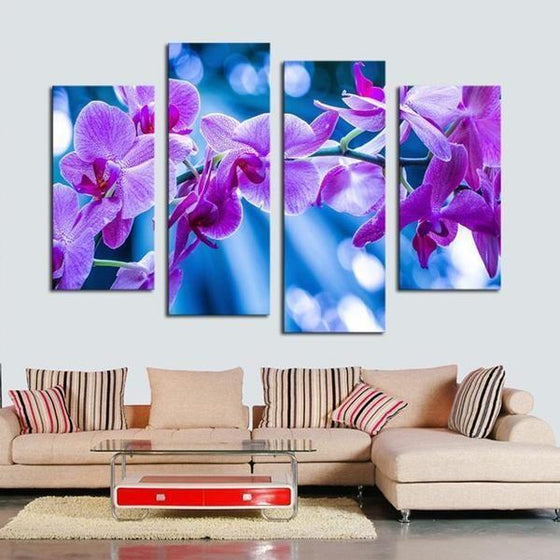 Fresh Purple Orchids Canvas Wall Art Living Room