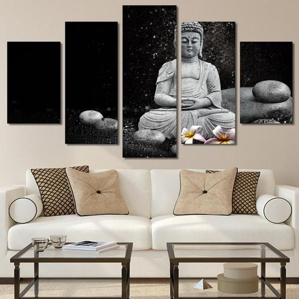 Buddha Stones And Flowers Black And White Canvas Wall Art — canvasx.net