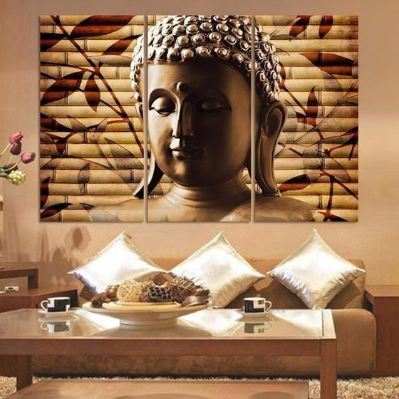 Buddha and Bamboo Poles Canvas Wall Art Living Room