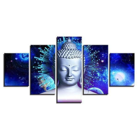 Bright Blue Abstract Buddha Canvas Wall Art Decor