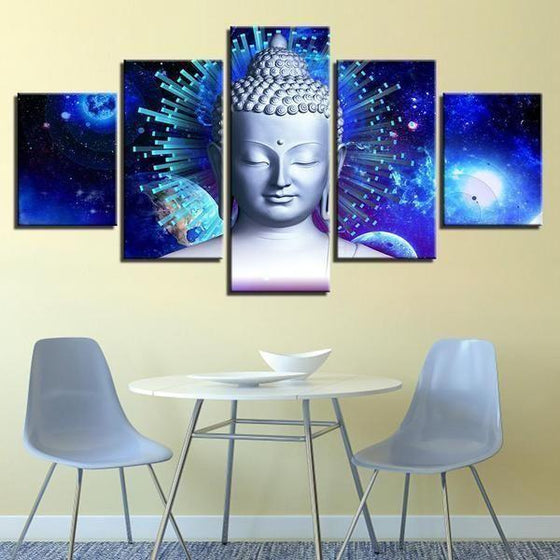 Bright Blue Abstract Buddha Canvas Wall Art