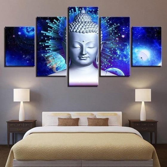 Bright Blue Abstract Buddha Canvas Wall Art Bed Room