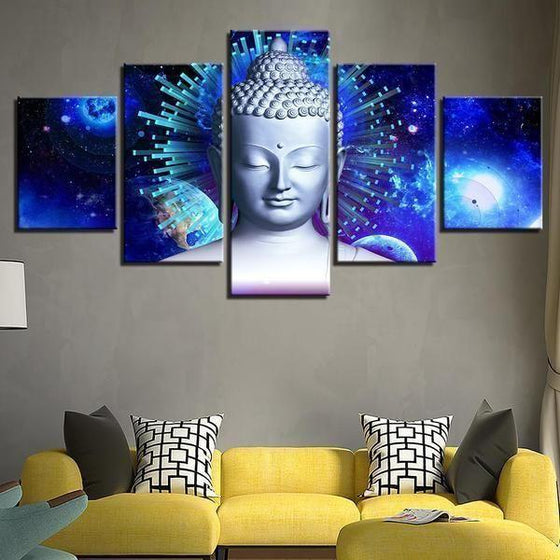 Bright Blue Abstract Buddha Canvas Wall Art Living Room