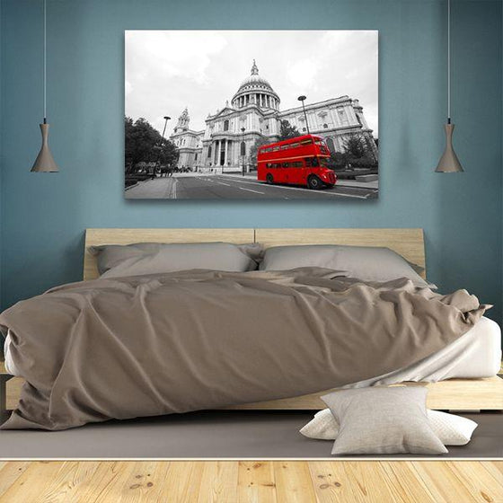 Red Bus In St. Paul's Cathedral Canvas Wall Art Bedroom