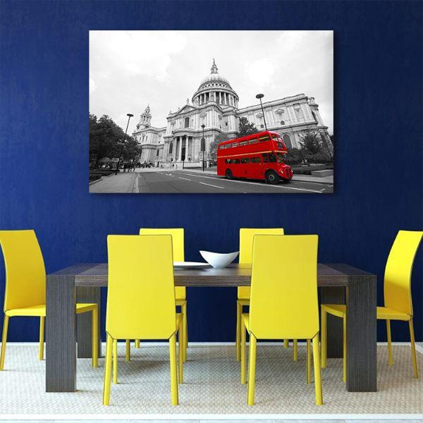Shop Red Bus In St. Paul's Cathedral Canvas Wall Art