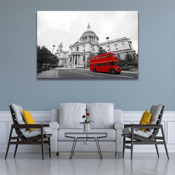 Red Bus In St. Paul's Cathedral Canvas Wall Art Room