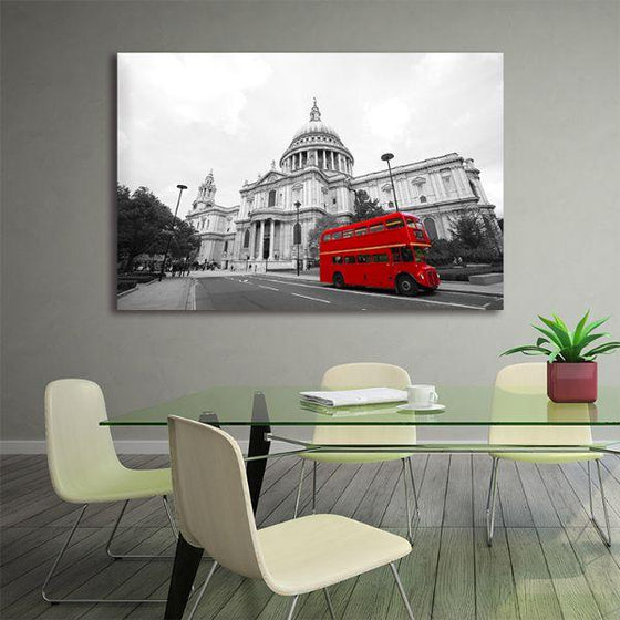 Red Bus In St. Paul's Cathedral Canvas Wall Art Office