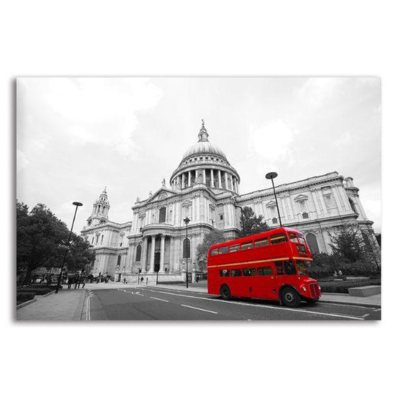 Red Bus In St. Paul's Cathedral Canvas Wall Art