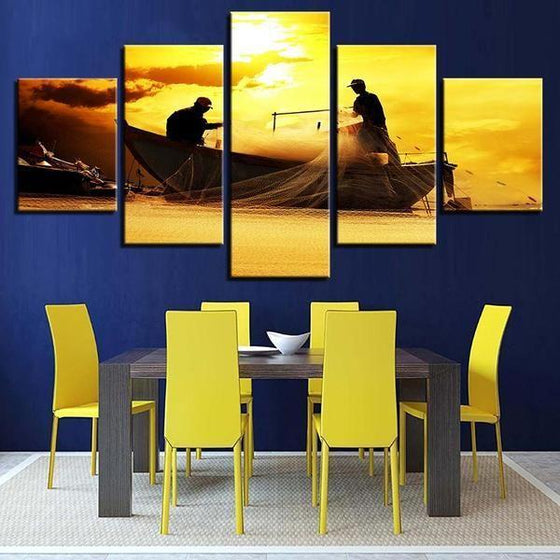 Fishing Boat Sunset Canvas Wall Art Dining Room