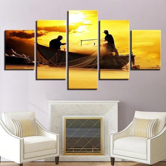 Fishing Boat Sunset Canvas Wall Art Home Decor