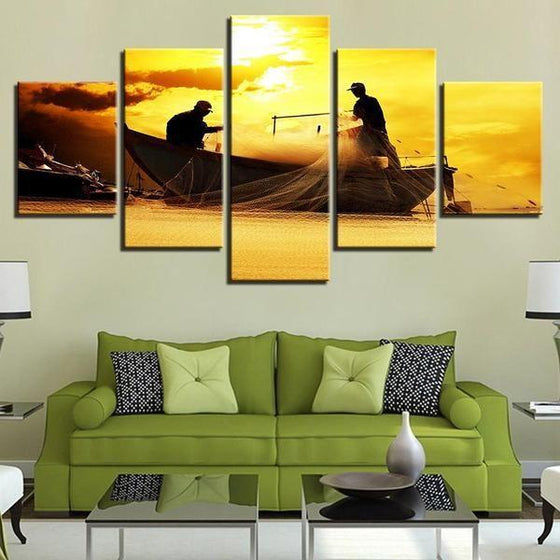 Fishing Boat Sunset Canvas Wall Art Decor