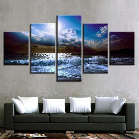 Cloudy Beach View Canvas Wall Art Ideas