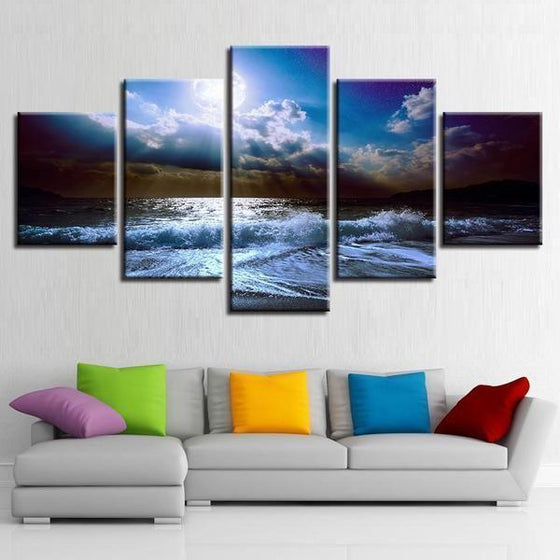 Cloudy Beach View Canvas Wall Art Living Room