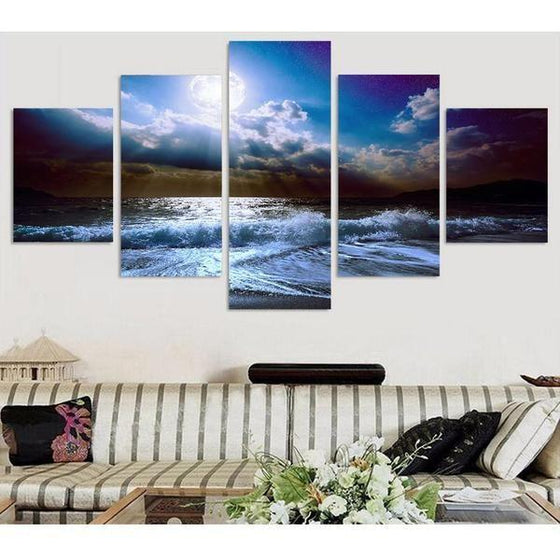 Cloudy Beach View Canvas Wall Art  Decor