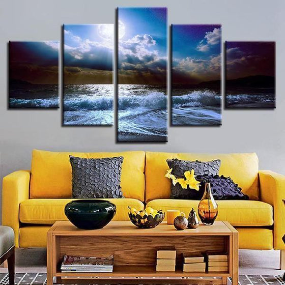 Cloudy Beach View Canvas Wall Art  Home Decor