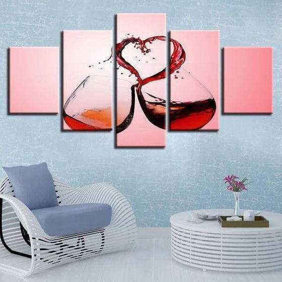 Canvas Wall Art Wine DecorCelebrate Love With Wine Canvas Wall Art