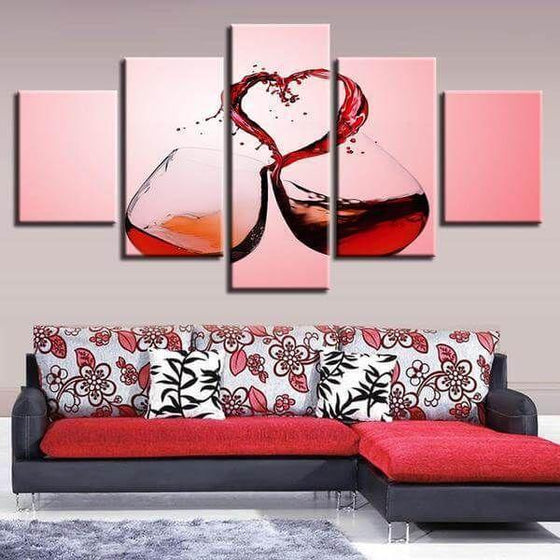 Celebrate Love With Wine Canvas Wall Art Living Room