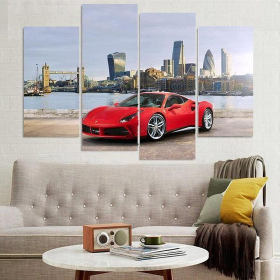 Red Ferrari 488 GTB Canvas Wall Art For Living Room