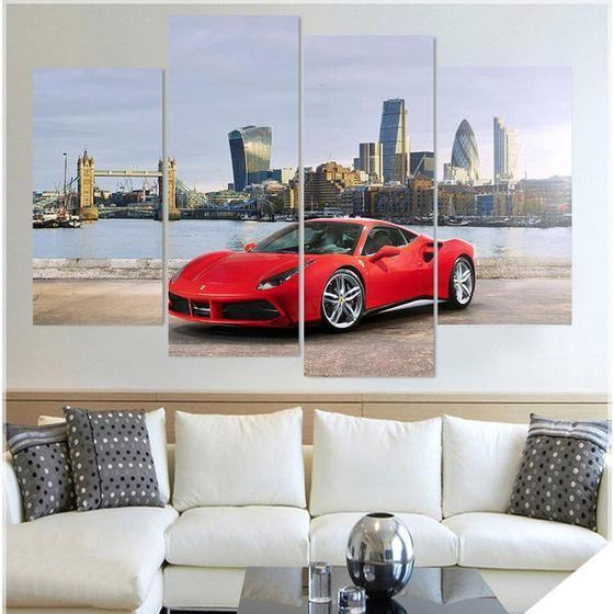 Red Ferrari 488 GTB Canvas Wall Art