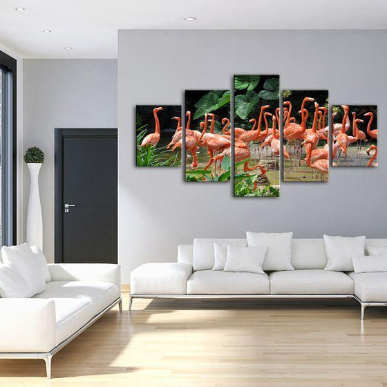Caribbean Pink Flamingos 5 Panels Canvas Wall Art Living Room