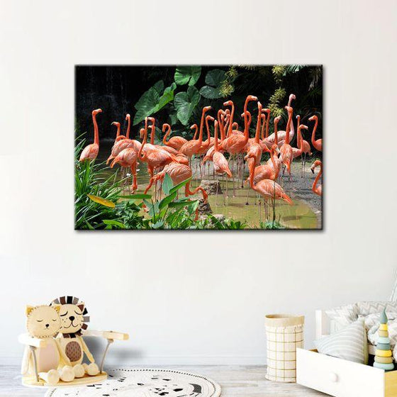 Caribbean Pink Flamingos Canvas Wall Art Decor