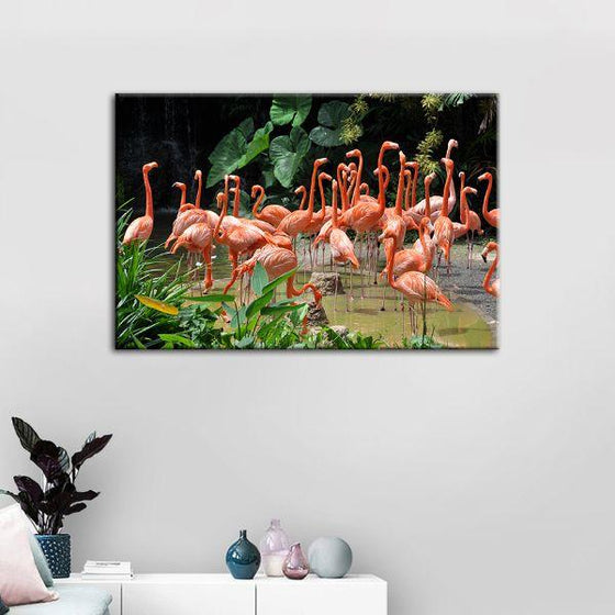 Caribbean Pink Flamingos Canvas Wall Art Kids Room