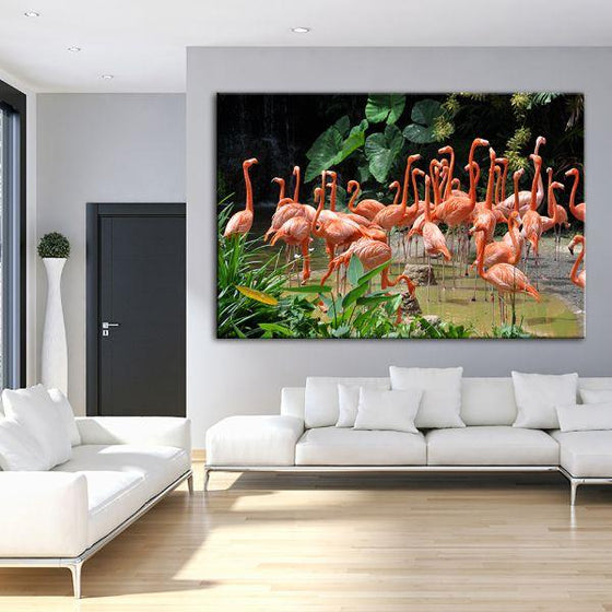 Caribbean Pink Flamingos Canvas Wall Art Living Room
