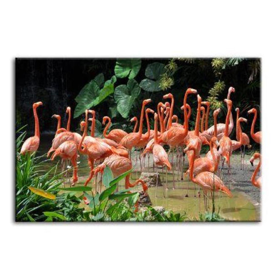 Caribbean Pink Flamingos Canvas Wall Art