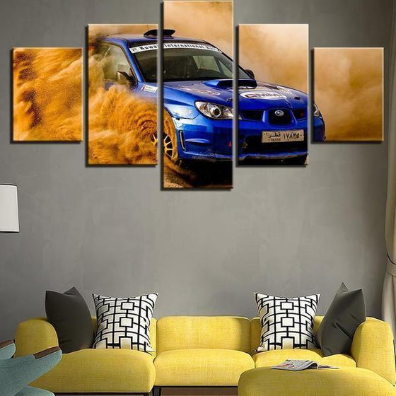 Blue Subaru WRX Canvas Wall Art Living Room