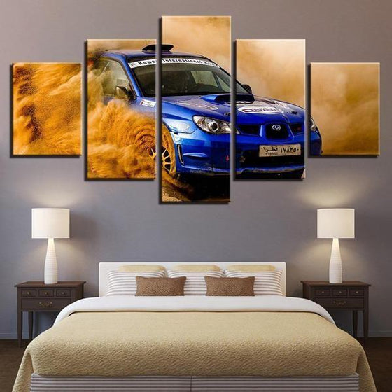Blue Subaru WRX Canvas Wall Art Bedroom