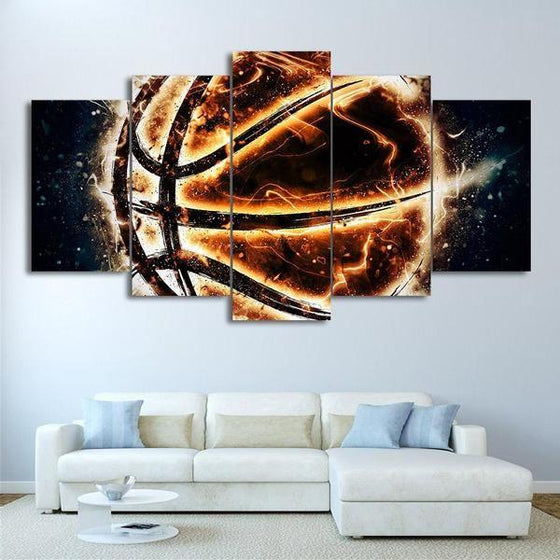 Burning Basketball Canvas Wall Art Living Room