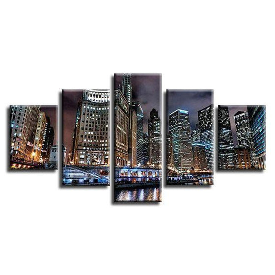 Chicago City Buildings Canvas Wall Art Prints