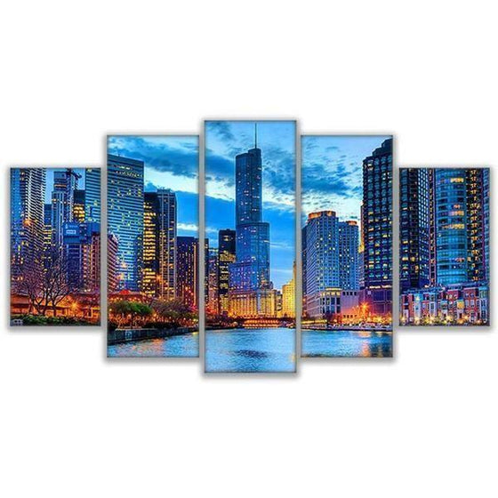 Chicago City Night View Canvas Wall Art
