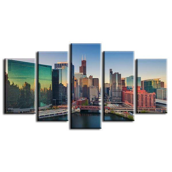 Chicago Illinois At Sunrise Canvas Wall Art Prints