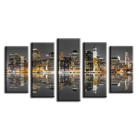 Chicago Skyline Night View Canvas Wall Art Prints