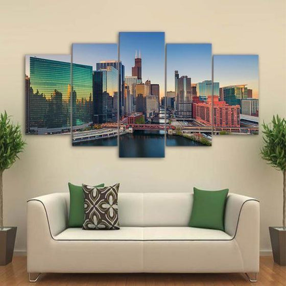 Chicago Illinois At Sunrise Canvas Wall Art