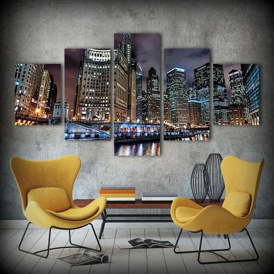 Chicago City Buildings Canvas Wall Art