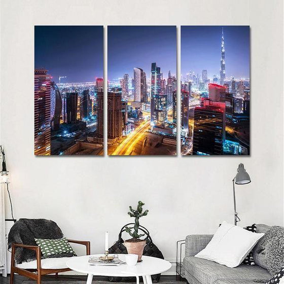 Dubai City Lights Canvas Wall Art