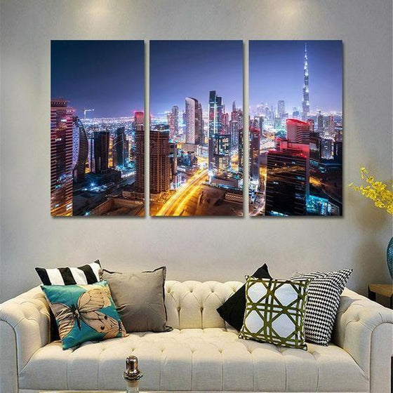 Dubai City Lights Canvas Wall Art Decor