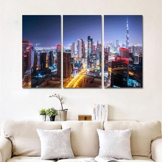 Dubai City Lights Canvas Wall Art Living Room