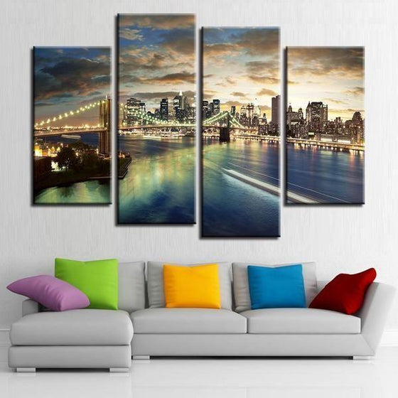 City Skyline Metal Wall Art Canvases