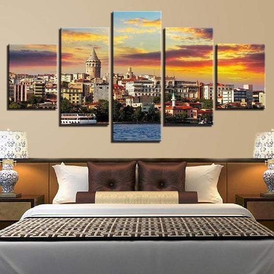 City & Sunset View Canvas Wall Art Bedroom