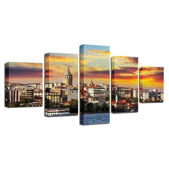 City & Sunset View Canvas Wall Art Prints
