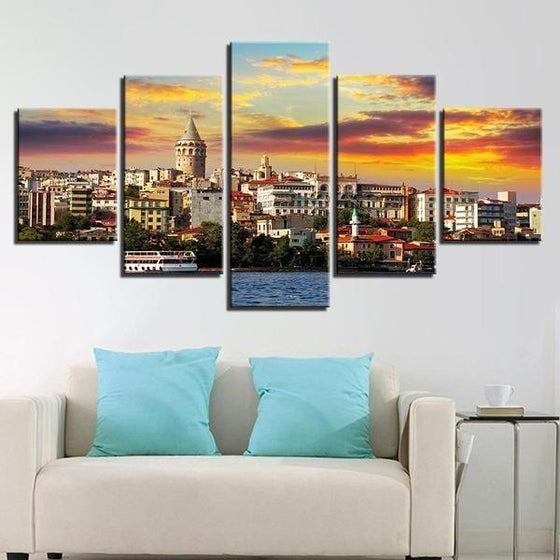 City & Sunset View Canvas Wall Art