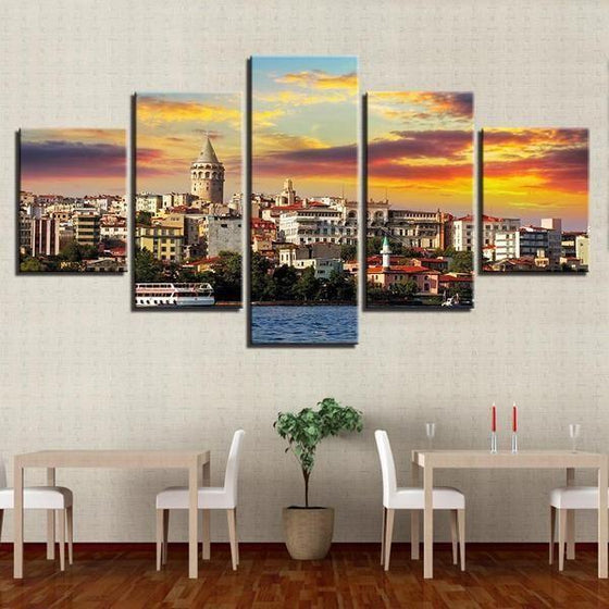 City & Sunset View Canvas Wall Art Home Decor